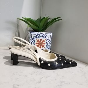 👠PIERRE MICHEL SLING BACK LEATHER SHOES